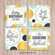 Set of abstract birthday cards with golden details Free Vector