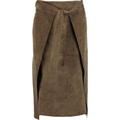 Joseph - Floyd Suede Wrap Skirt (6 970 ZAR) ❤ liked on Polyvore featuring skirts, army green, brown suede skirt, suede leather skirt, slit skirt, suede wrap skirt and tie waist skirt