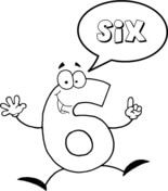 Number 6 Says Six Coloring page