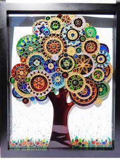 Abstract flower art Glass painting Bohemian decor Sun catcher Painted glass Wall art Original a Glass Painting Patterns, Glass Painting Designs, Stained Glass Patterns, Dot Painting, Tree Of Life Art, Tree Art, Art Life, Abstract Flower Art, Mosaic Flowers