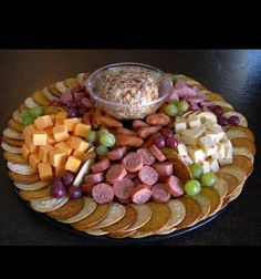 "Just needed a picture of a meat and cheese tray for Ghostbusters party. ""Louis' meat and cheese party platter"" Cheese And Cracker Platter, Meat And Cheese Tray, Meat Trays, Meat Platter, Food Platters, Cheese Sausage, Sausage Platter, Cheese Party Trays, Cheese Tray Display"