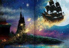 art, awesome, disney, fairy, fairytale, fly, gold, heart, lights, magic, moon, neverland, night, peter pan, pirate, ship, stars, wonderful, dream 