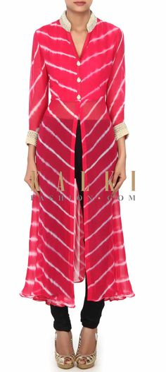 Buy Online from the link below. We ship worldwide (Free Shipping over US$100) Price- $59 Click Anywhere to Tag http://www.kalkifashion.com/coral-leheriya-kurti-embellished-in-pearl-and-kundan-embroidery-only-on-kalki.html