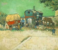 Friends of Vincent (@VanGoghADay) | Twitter Encampment of Gypsies with Caravans August, 1888 Oil on canvas Paris, Musee d'Orsay