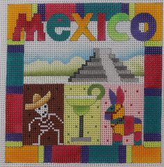 Denise DeRusha Designs Mexico Hand Painted Needlepoint Canvas 18 count