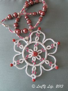 Tatted White Lace With Pink Glass Beads Pink Pearl by LacyLife