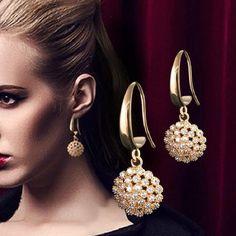 New Jewelry Earings Fashion Zircon Earring Inlaid Ladies Temperament Earrings Brincos De Festa Long Earrings Brinco EH047