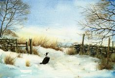 Winter on the marsh-Border Collie-watercolour