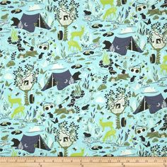 Tula Pink Moon Shine Forest Frivolity Sky from @fabricdotcom  Designed by Tula Pink for Free Spirit, this cotton print is perfect for quilting, apparel and home decor accents.  Colors include cream, black, shades of green and shades of blue.