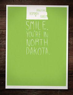Geographic Designer's take on North Dakota! So cute on Etsy!