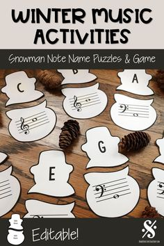 Music teachers, if you are looking for some FUN winter music activities, this resource is for you! These printable snowman puzzles will help you students practice treble clef and bass clef note names in the music staff. This set is also great for Christm Music Theory Games, Music Education Games, Music Theory Worksheets, Music Activities, Teaching Music, Music Games, Physical Education, Learning Piano, Health Education