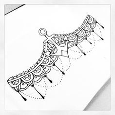 Beautiful paisley pattern and anchor sternum/under-bust tattoo design done by me.
