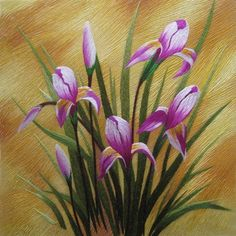 King Silk Art 100% Handmade Embroidery Mixed Iris Popy-Orchid ...