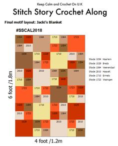 Final motif layout for Jacki's one colour blanket of the SSCAL18