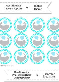 Free Aqua Blue  Chevron Pattern Whale Cupcake Toppers