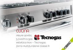 Cucina Tecnogas 90x60 con vano portabombola, 5 #fuochi e #forno multifunzione con 8 funzioni, estetica #Inox http://www.qbric.it/pb965mx-cucina-90x60-5-fuochi-a-gas-e-forno-multifunzione-classe-a-estetica-inox-tecnogas.html #cucina #cibo #qualità #acciaio