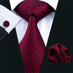 Men Tie Red Plaid Silk Jacquard Neck tie Tie Hank Cuff links Set Ties For Men Business Wedding Party
