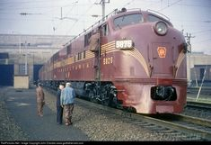 RailPictures.Net Photo: PRR 5875 Pennsylvania Railroad EMD E7(A) at Philadelphia, Pennsylvania, June 12, 1955, by John Dziobko www.godfatherrails.com