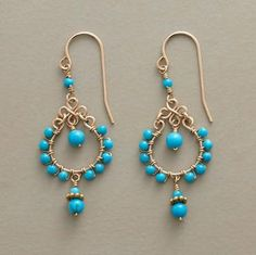 """BEAD BORDER EARRINGS. Turquoise seed beads border 14kt goldfilled hoops while one dangles within, two more below. Handcrafted with 14kt goldfilled French wires. 1-5/8""""L. WWW.MAGGYCALHOUN.COM"""
