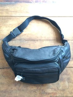 Vintage Black Leather Bum Bag/ Fanny Pack - Brand New - Festival
