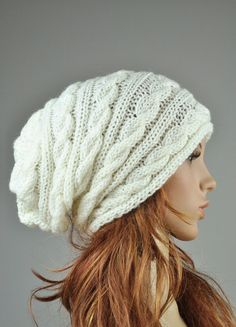 .Hand knit hat - cable pattern hat in cream, slouchy hat, wool hat