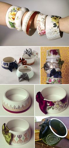 DIY BRACELET :: Teacup Bracelet :: These teacup bracelets are sold on Etsy for 50 bucks. However, I think I could make it myself w/ a bottle cutter (same technique used to cut wine bottles into candle holders and such...the bottle cuter is about 20 bucks on Amazon) and some sandpaper to sand the edges. And a bow of course.