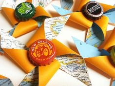Craft Beer Boutonnieres and a Destination Wedding Pinwheel Bridal Bouquet CUSTOM by (Not using this but cute idea! Craft Beer Wedding, Brewery Wedding, Diy Wedding Projects, Wedding Crafts, Autumn Wedding Cakes, Fall Wedding Cakes, Summer Wedding, Vintage Wedding Centerpieces, Destination Wedding Favors