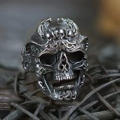 Made from Genuine Quality 316 L Stainless Steel Rust Free and Won't Blanch Customer Satisfaction Guaranteed Please Refer Ring Measuring Chart Before placing the Order. Mens Skull Rings, Silver Skull Ring, Skull Jewelry, Men's Jewelry, Jewelery, Dragon Ring, Viking Symbols, Biker Rings, Tips