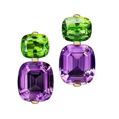 Thomas Jirgens Jewelry Amethyst and Peridot Earrings Peridot Jewelry, Amethyst Earrings, Gems Jewelry, High Jewelry, Luxury Jewelry, Pearl Jewelry, Gemstone Jewelry, Diamond Jewelry, Vintage Jewelry