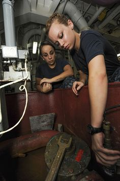 INDIAN OCEAN (June 7, 2013) Interior Communications Electrician Fireman Chelsea Stoute (right), from Baton Rouge, La., and Interior Communications Electrician Fireman Krista Wycoff, from South River N.J., install a hydrogen sulfide detector head in pump room 1 aboard the aircraft carrier USS Nimitz (CVN 68). Nimitz Strike Group is deployed to the U.S. 7th Fleet area of responsibility conducting maritime security operations and theater security cooperation efforts.