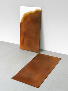 Alicja Kwade, Trait Transference,' 2015, Coated mirror, corten steel, 51 1/4 × 27 1/2 in