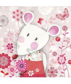 Tableaux chambre d'enfant et bébé : Fleurs et petite souris