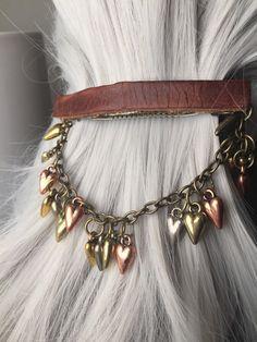 Leather Hair Clips Hair Barrette or Heart by ArcanumByAerrowae