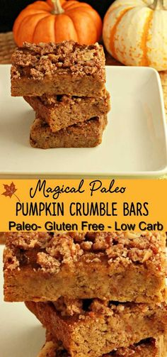 Magical Paleo Pumpkin Crumble Bars. A grain free, creamy pumpkin cake bar with a crumble topping that will magically disappear from your kitchen!