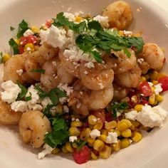 "Warm Corn, Kale, Tomato Salad with Shrimp and Feta ""Seven Layer Charlotte""  Recipost Reciposter kale, healthy, tomato salad, shrimp, glutenfree"