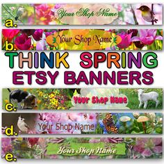 THINK SPRING BANNER Collection Spring Etsy by StylePointDesign