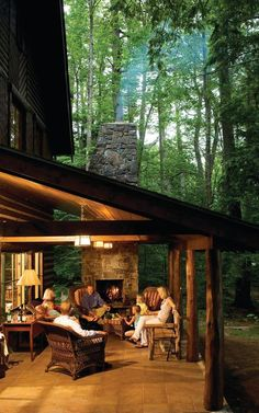 Marvelous Rustic Outdoor Fireplace Designs For Your Barbecue Party is part of Rustic porch A fireplace may be great addition to a home Brick fireplace is also a great alternate to go for achiev - Rustic Outdoor Fireplaces, Outdoor Fireplace Designs, Rustic Patio, Rustic Porches, Rustic Wood, Rustic Decor, Outdoor Fireplace Patio, Cozy Patio, Wooden Barn