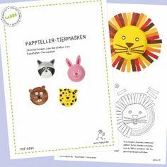 Beispielseiten aus dem PDF mit Anleitungen für 24 verschiedenen Tiermasken aus Papptellern