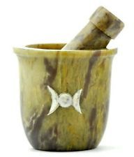 MORTAR & PESTLE Set TRIPLE MOON MOP SOAPSTONE wicca pagan herb