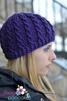 Ravelry: Cable Cross Beanie - 2 Versions pattern by Crochet by Jennifer