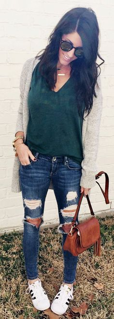 pretty spring outfits / Grey Cardigan / Green Top / Ripped Skinny Jeans / White Adidas Sneakers / Brown Leather Shoulder Bag