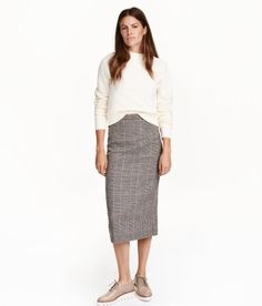 Wool-blend Skirt | White/houndstooth | Ladies | H&M US