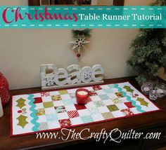 Christmas table runner using a Moda Candy mini charm pack. Also, alternative idea that adapts project for any theme.