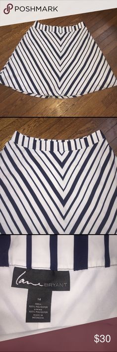 """Lane Bryant blue White Stripe Silky aline skirt 14 Lane Bryant blue White Stripe skirt.  Size 14.  100% polyester.  Waist 36"""" hips 60"""" length 23"""".  No flaws to note. Lane Bryant Skirts A-Line or Full"""