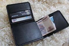 Купить Портмоне из черной кожи - trifold wallet - кожа, кошелек, картхолдер, портмоне, визитница