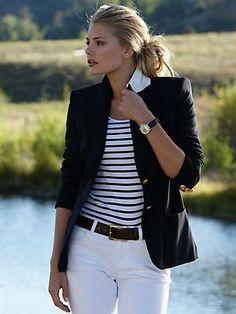 Black Blazer, white jeans and stripes