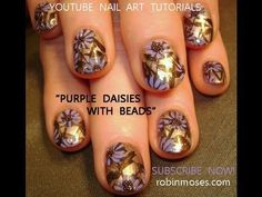PURPLE DAISY NAILS! : robin moses nail art design tutorial