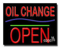 "Oil Change Open Neon Sign - Block Text - 24""x31""-ANS1500-5918-1g  31"" Wide x 24"" Tall x 3"" Deep  Sign is mounted on an unbreakable black or clear Lexan backing  Top and bottom protective sides  110 volt U.L. listed transformer fits into a standard outlet  Hanging hardware & chain included  6' Power cord with standard transformer  Includes 2nd transformer for independent OPEN section control  For indoor use only  1 Year Warranty on electrical components."