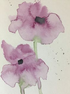Purple Flowers Art Print featuring the painting Two Simple Purple Flowers by Britta Zehm