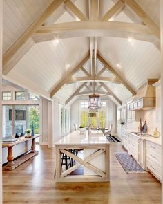 Kitchen Design, Trusses, Cathedral Vault Ceiling, Vaulted Ceiling, Shiplap, Cambria Quartz, X Island, Kitchen Island, Wideplank Hardwoods Barn House, Home, House Design, New Homes, Vaulted Ceiling Beams, Model Homes, Modern Farmhouse Kitchens, Ranch Style Homes, Cathedral Ceiling Living Room